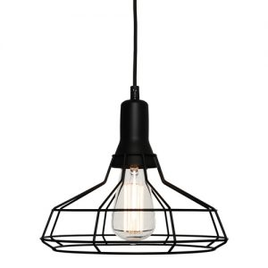 Black wire cage pendant light